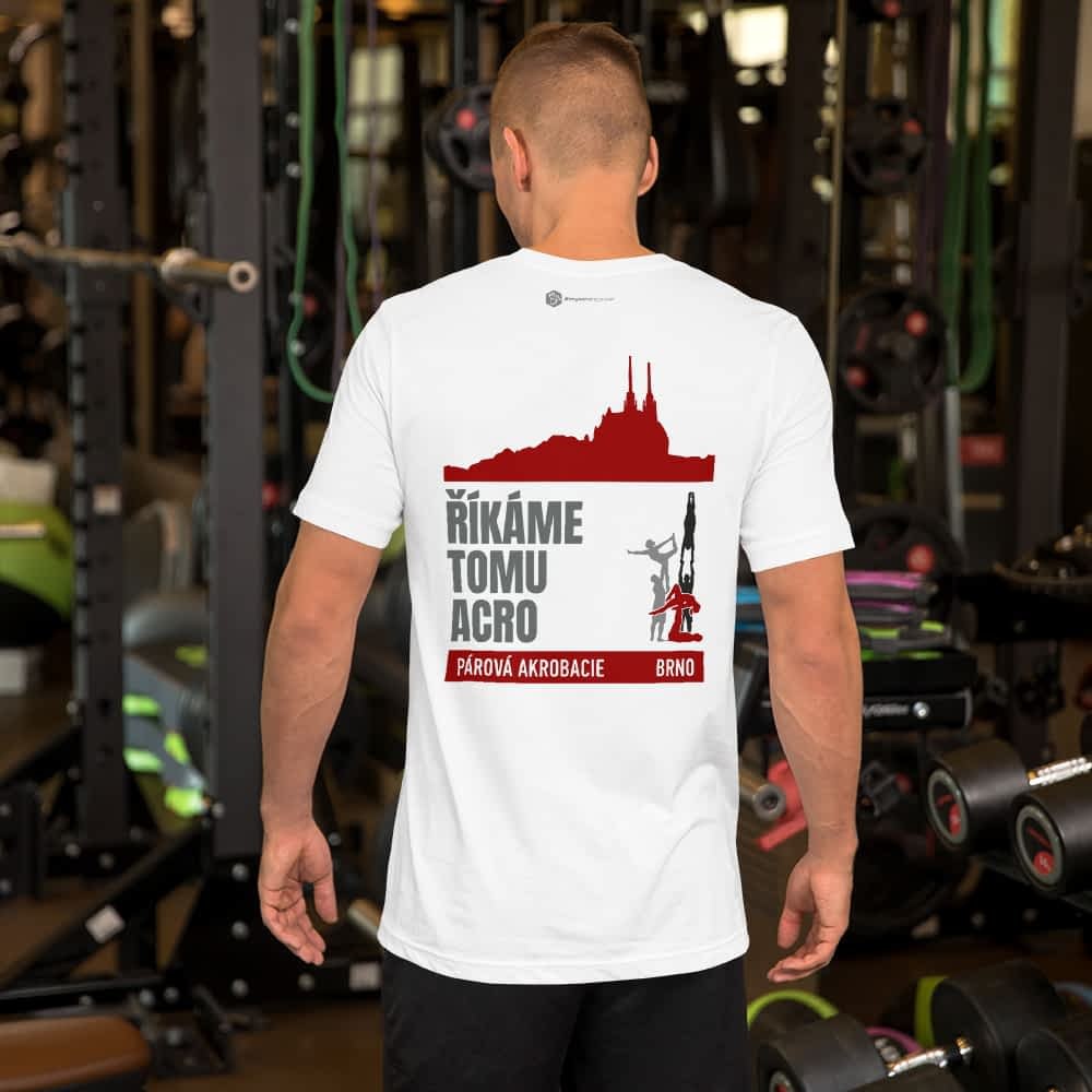 CZ Brno - Rikame tomu acro t-shirt White - man in gym form back