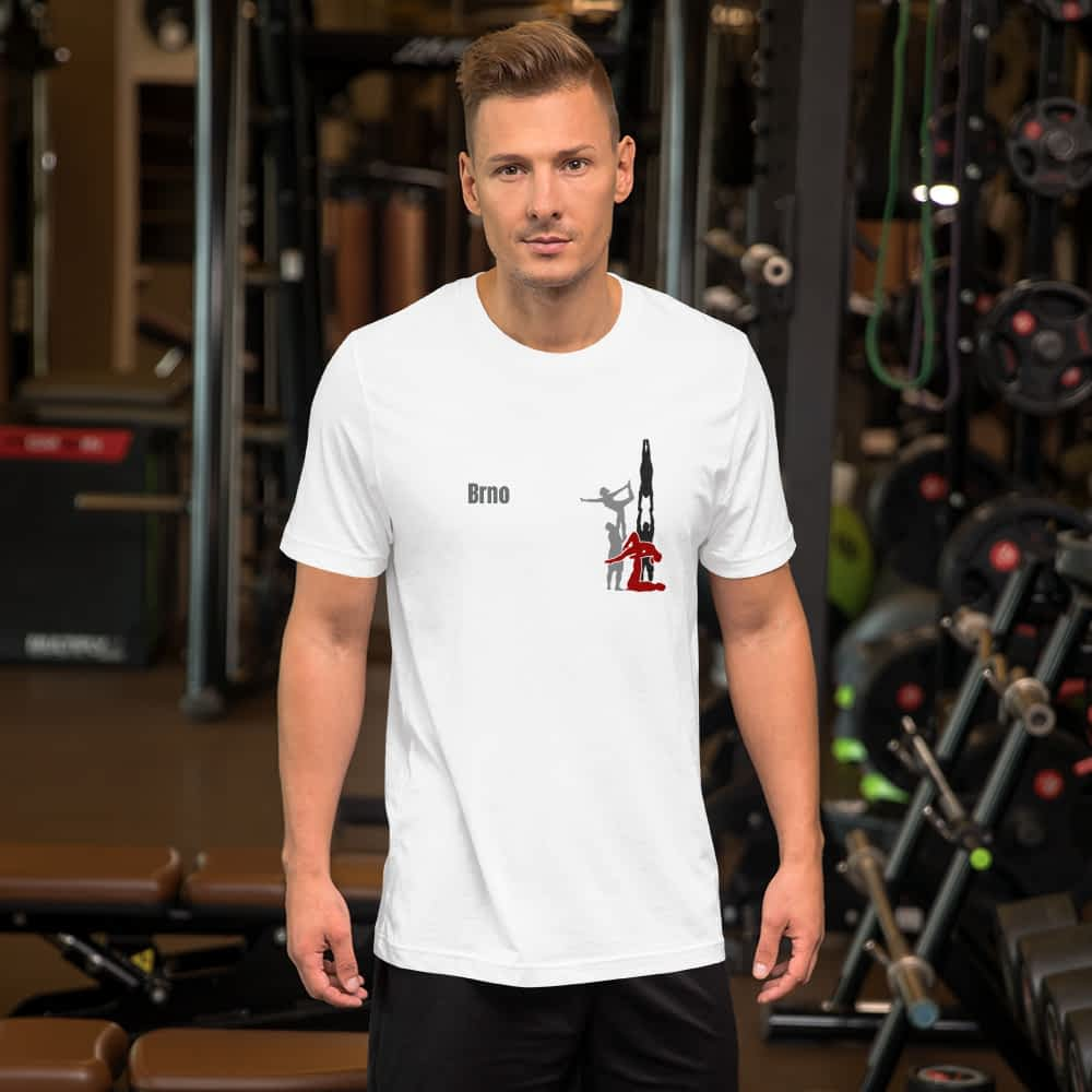 CZ Brno - Rikame tomu acro t-shirt White - mani in gym from front